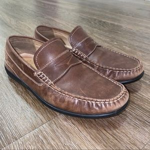 Ecco Brown Leather Penny Loafer Mocs, Size 41